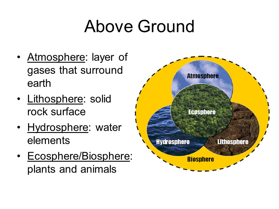 Above Ground Atmosphere: layer of gases that surround earth