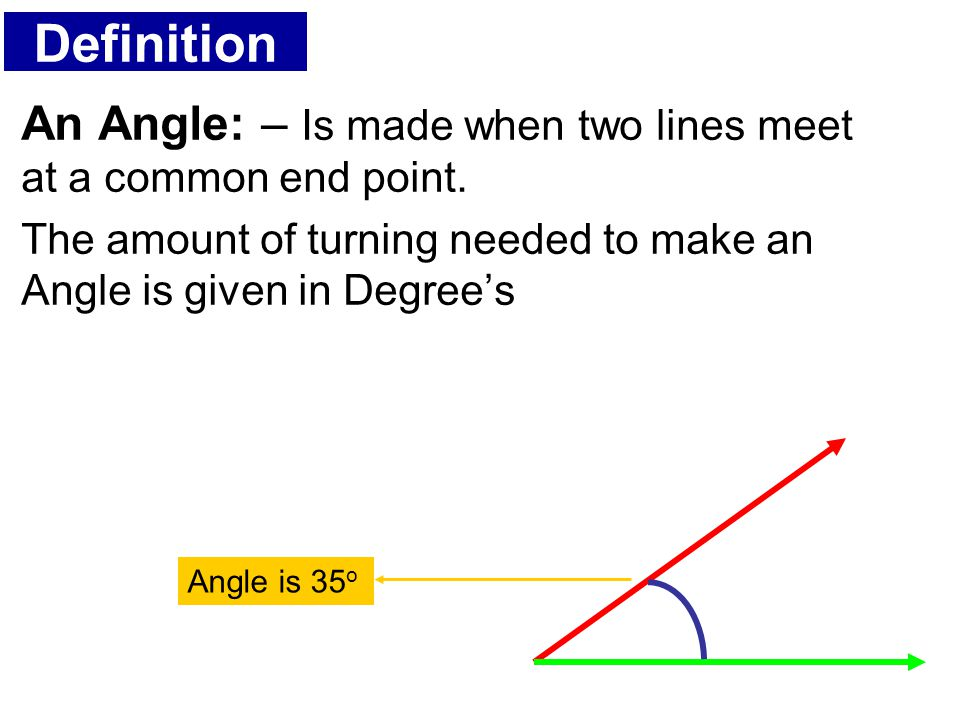 Definition An Angle: – Is made when two lines meet at a common end point. The amount of turning needed to make an Angle is given in Degree's.
