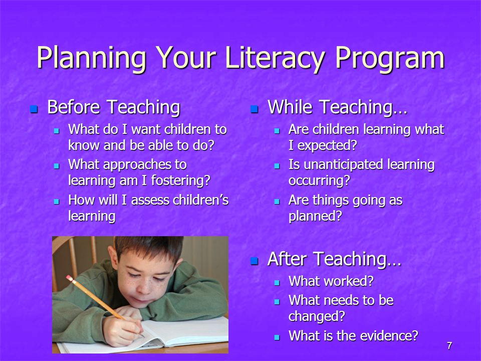 Planning Your Literacy Program