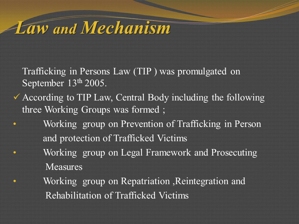 Law and Mechanism Trafficking in Persons Law (TIP ) was promulgated on September 13th 2005.
