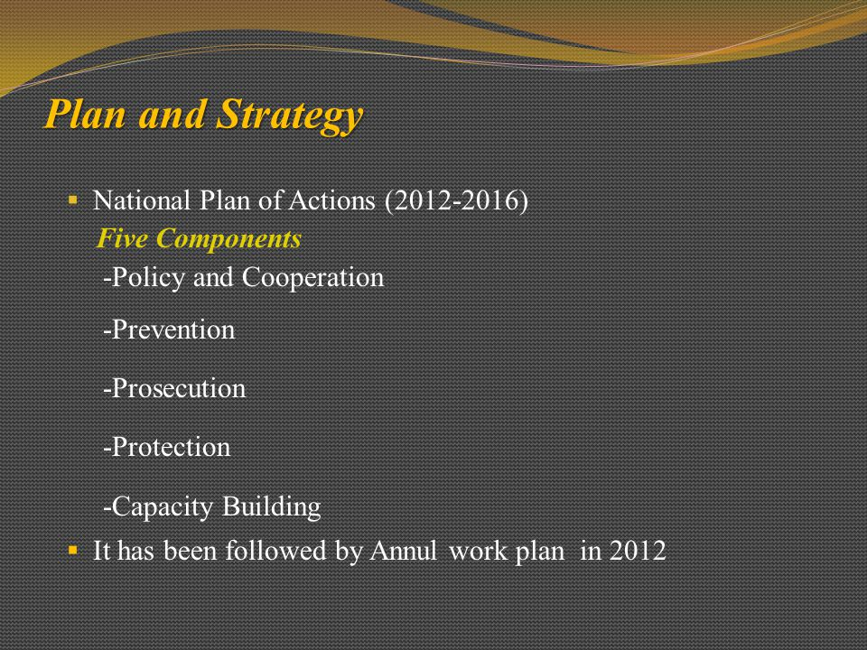 Plan and Strategy National Plan of Actions (2012-2016) Five Components