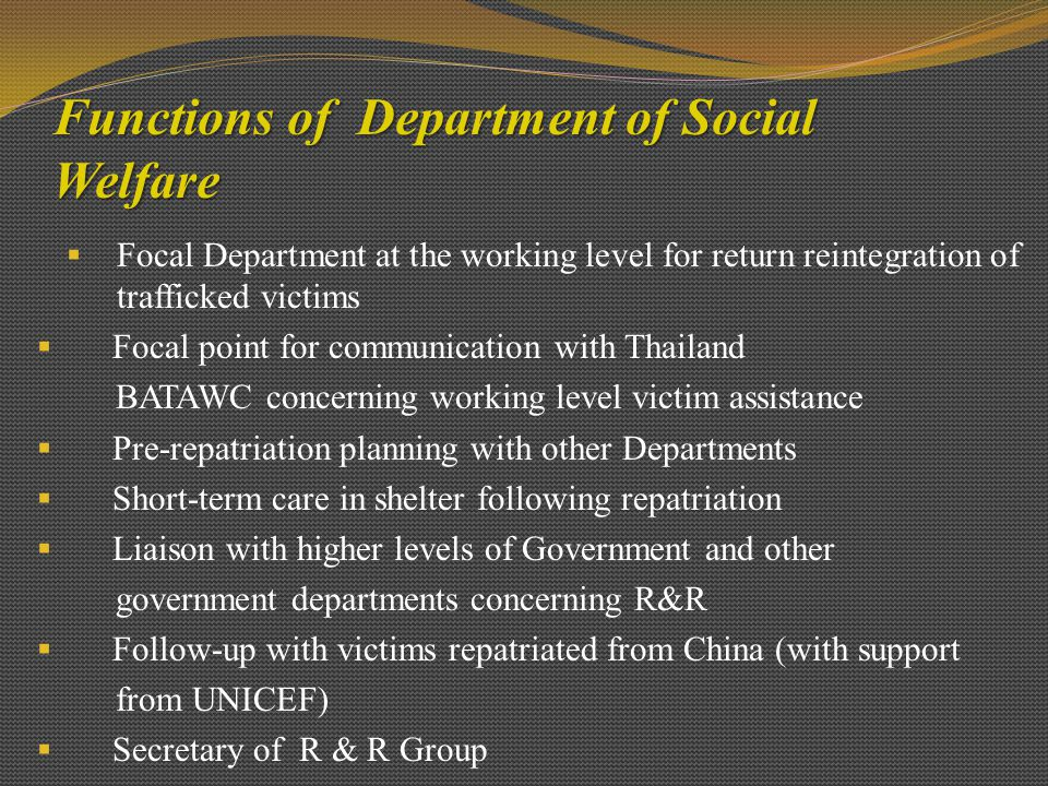 Functions of Department of Social Welfare