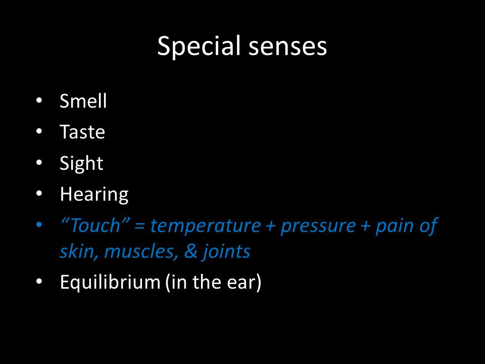 Special senses Smell Taste Sight Hearing