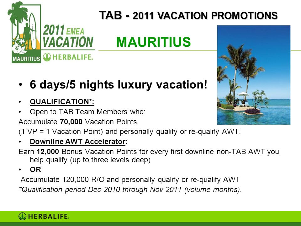 MAURITIUS TAB TEAM - TAB - 2011 VACATION PROMOTIONS