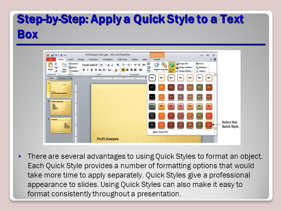 Step-by-Step: Apply a Quick Style to a Text Box