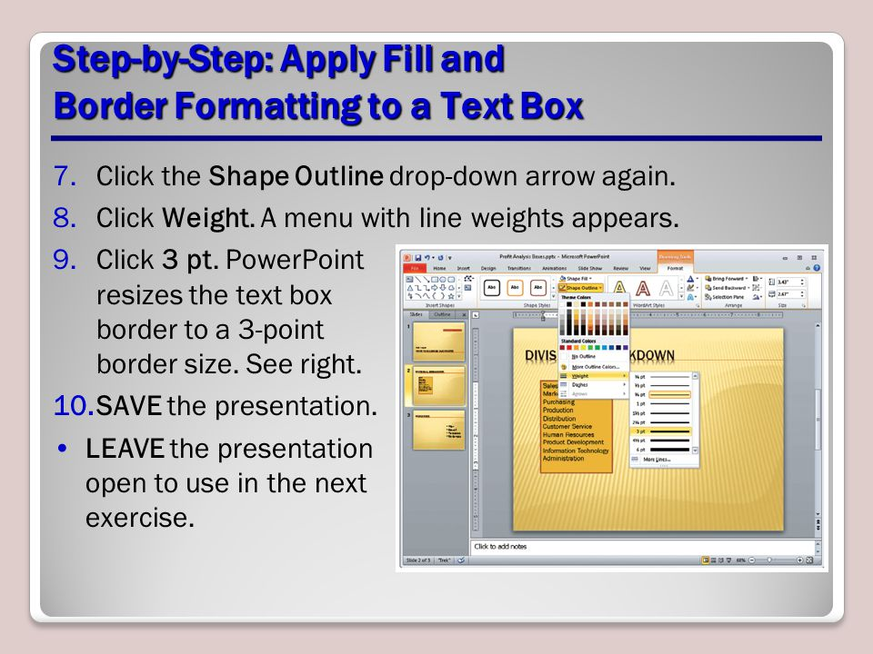 Step-by-Step: Apply Fill and Border Formatting to a Text Box