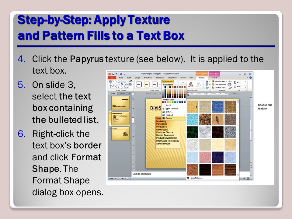 Step-by-Step: Apply Texture and Pattern Fills to a Text Box