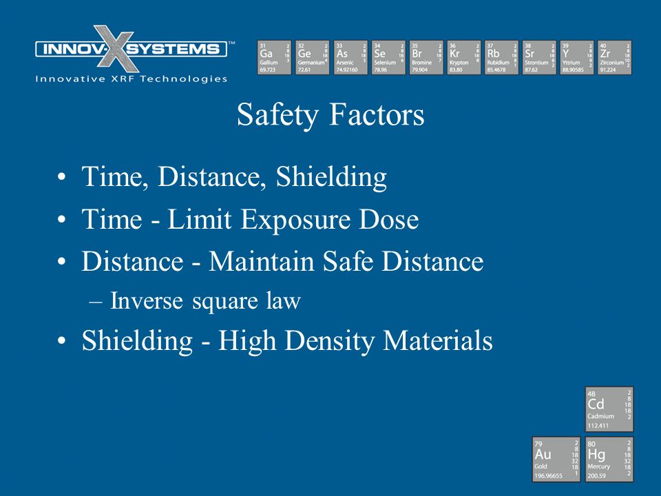 Safety Factors Time, Distance, Shielding Time - Limit Exposure Dose