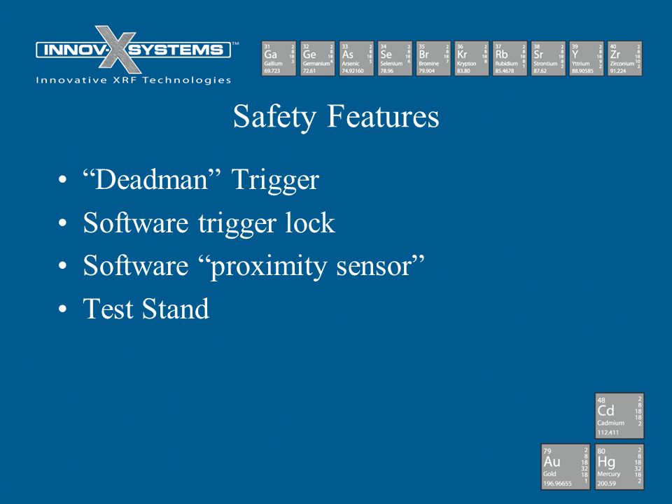 Safety Features Deadman Trigger Software trigger lock