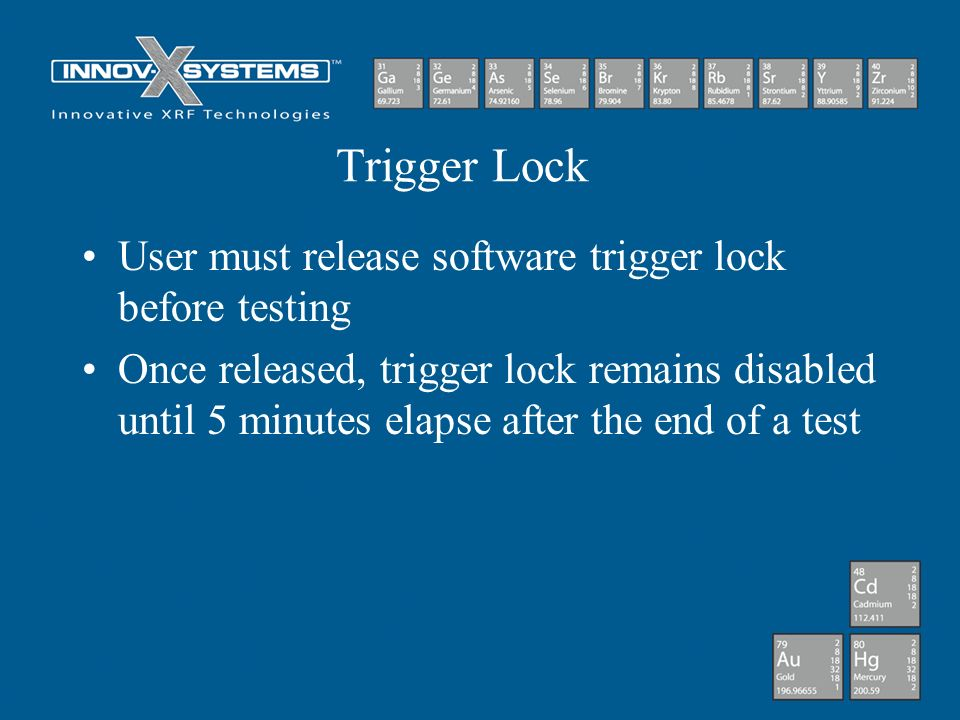 Trigger Lock User must release software trigger lock before testing