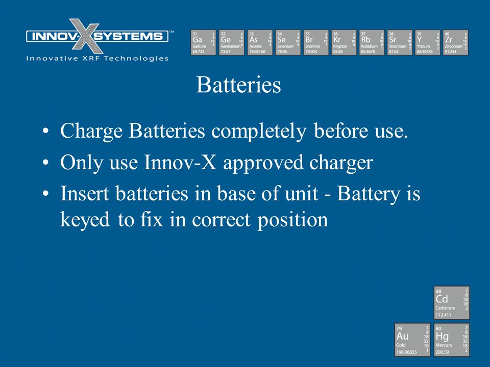 Batteries Charge Batteries completely before use.