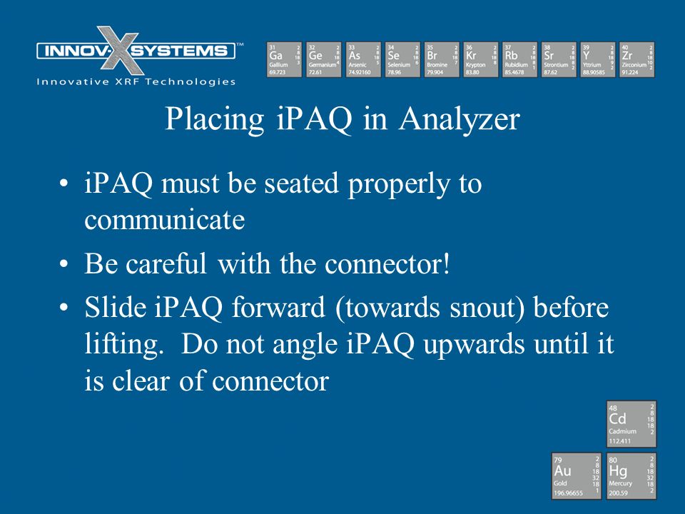 Placing iPAQ in Analyzer