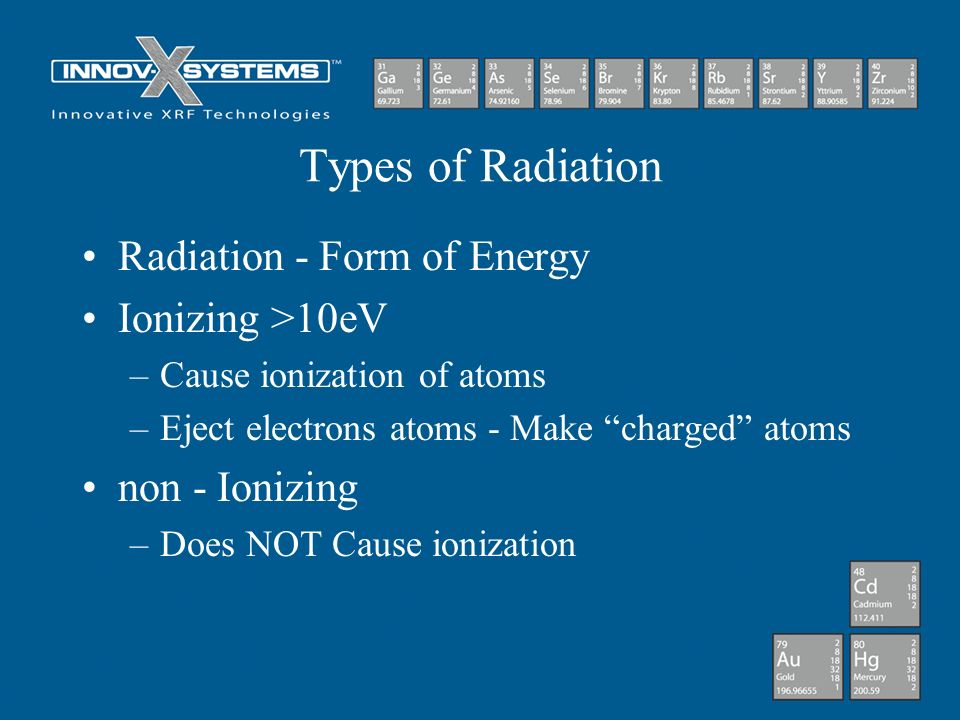 Types of Radiation Radiation - Form of Energy Ionizing >10eV