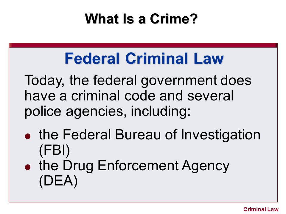 Federal Criminal Law Today, the federal government does have a criminal code and several police agencies, including: