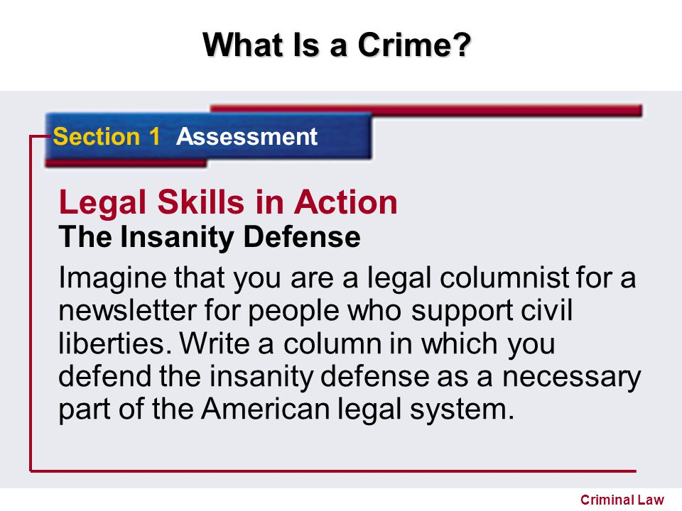 Legal Skills in Action The Insanity Defense
