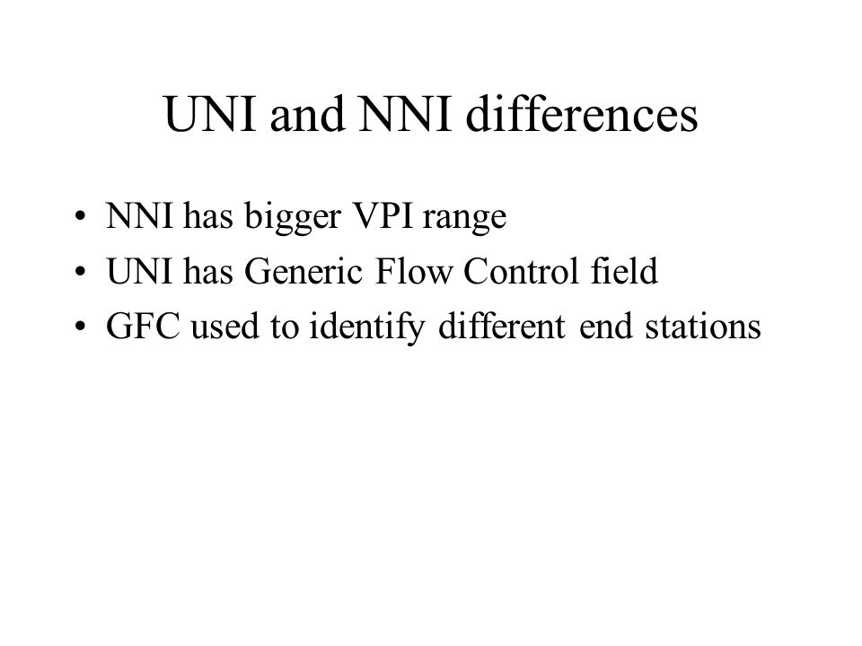 UNI and NNI differences