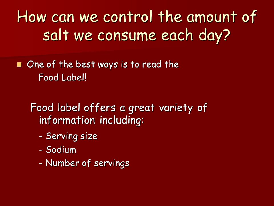 How can we control the amount of salt we consume each day