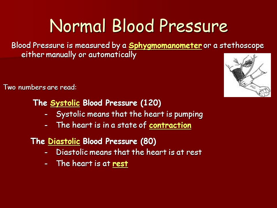Normal Blood Pressure The Systolic Blood Pressure (120)