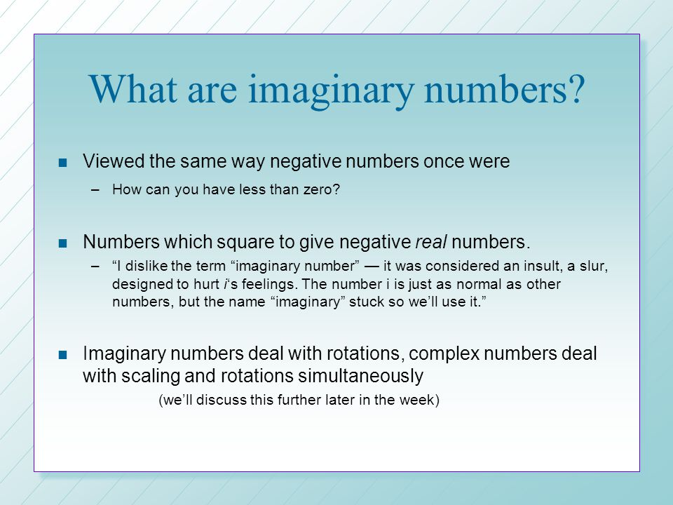 What are imaginary numbers