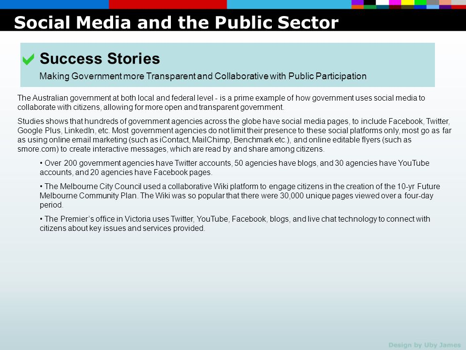 a Social Media and the Public Sector Success Stories
