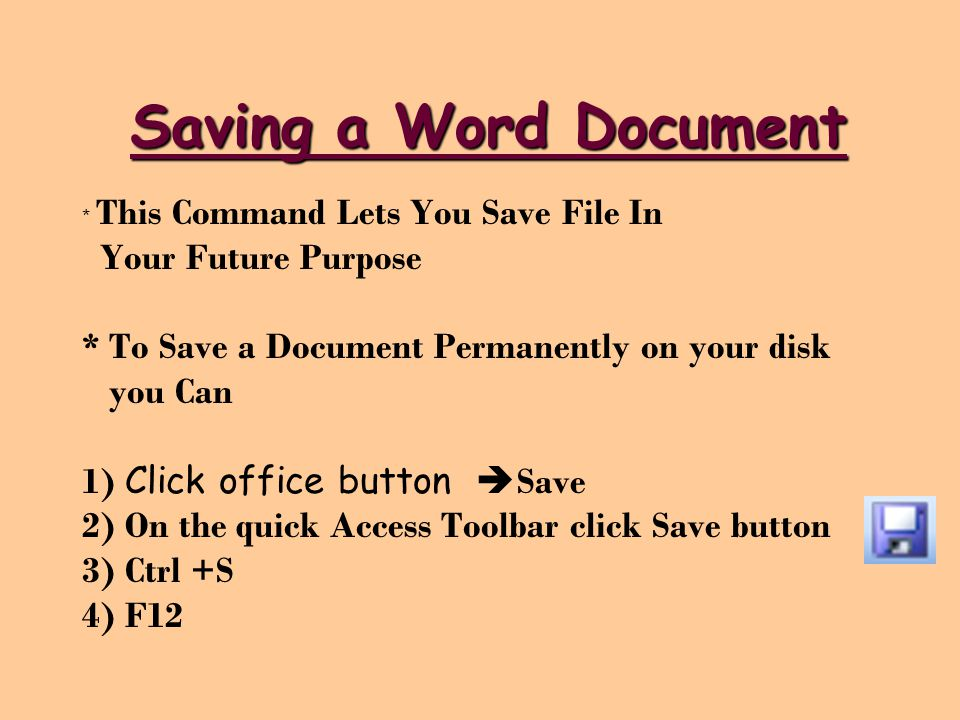 Saving a Word Document Your Future Purpose