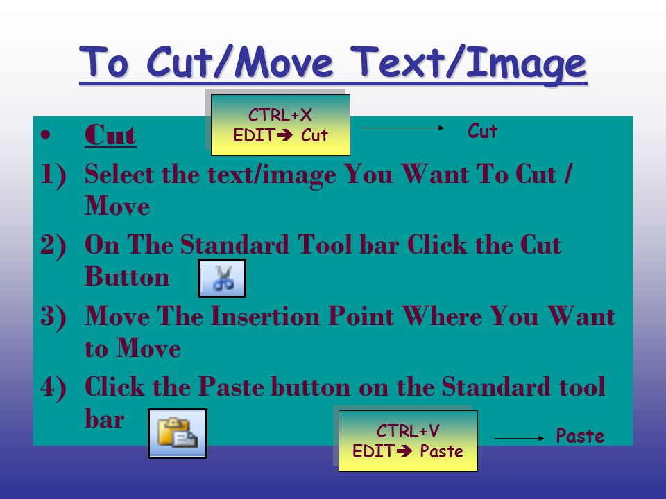 To Cut/Move Text/Image