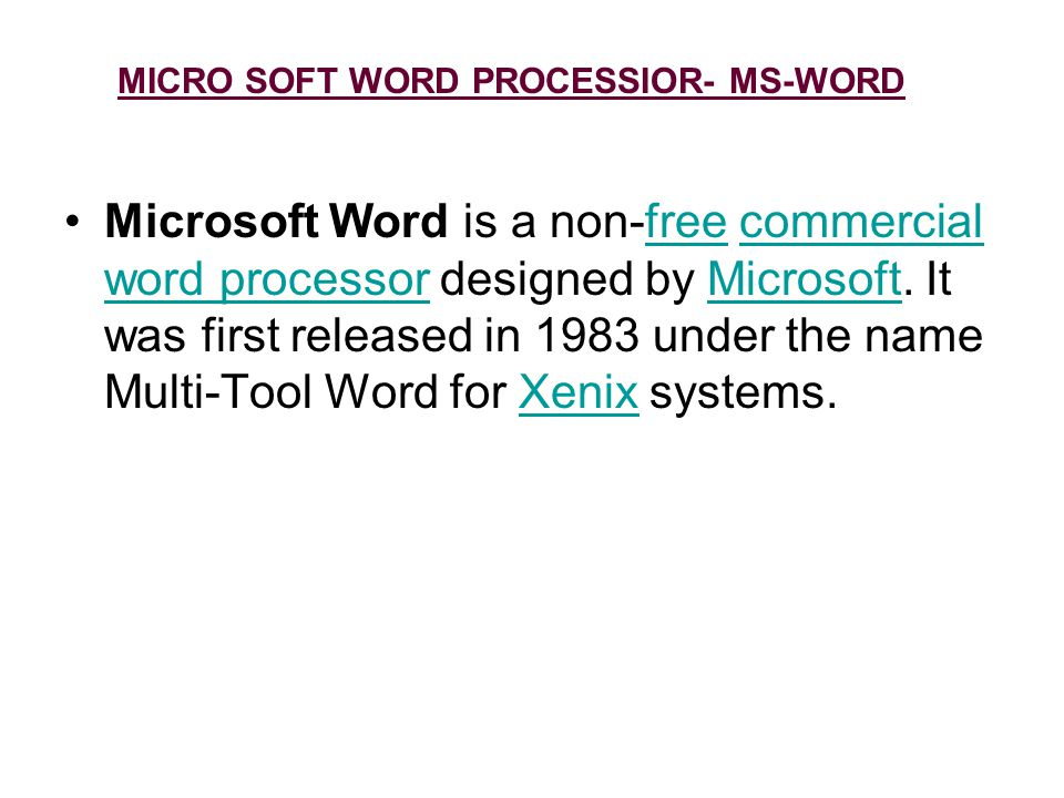 MICRO SOFT WORD PROCESSIOR- MS-WORD