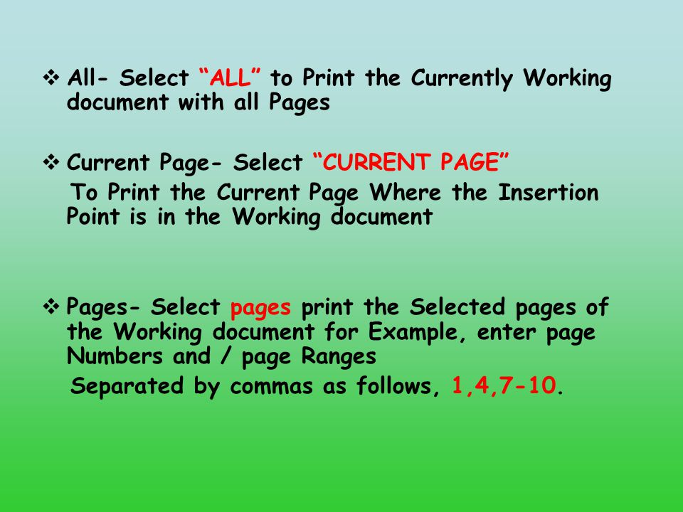 All- Select ALL to Print the Currently Working document with all Pages