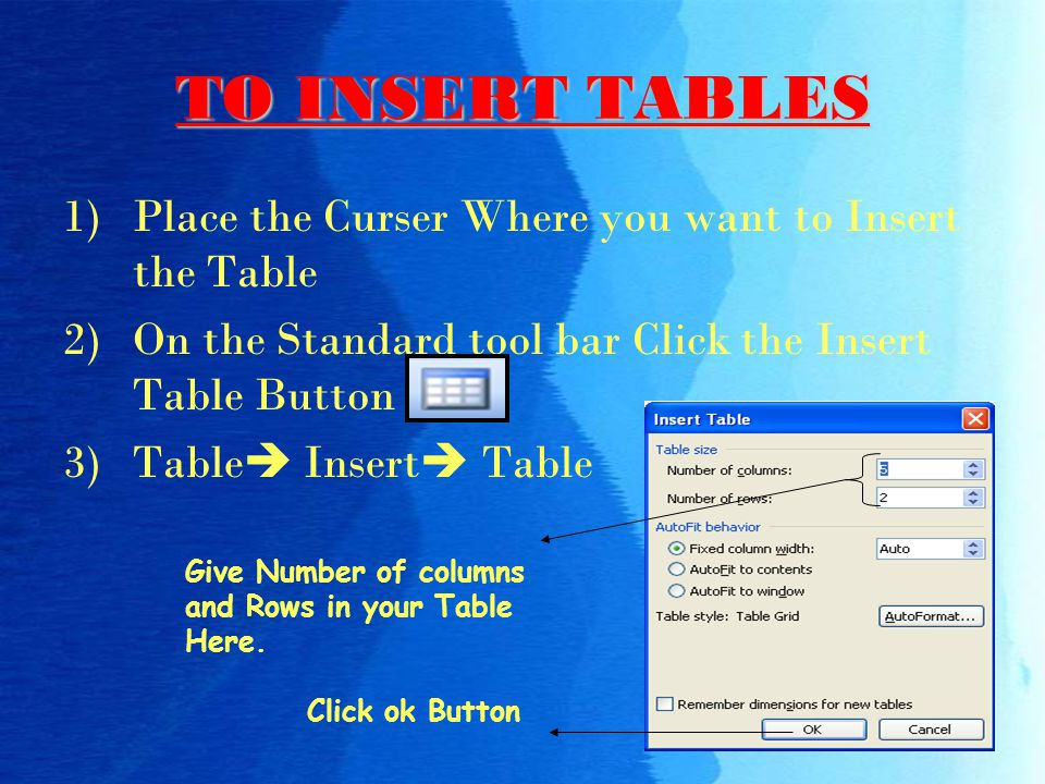 TO INSERT TABLES Place the Curser Where you want to Insert the Table