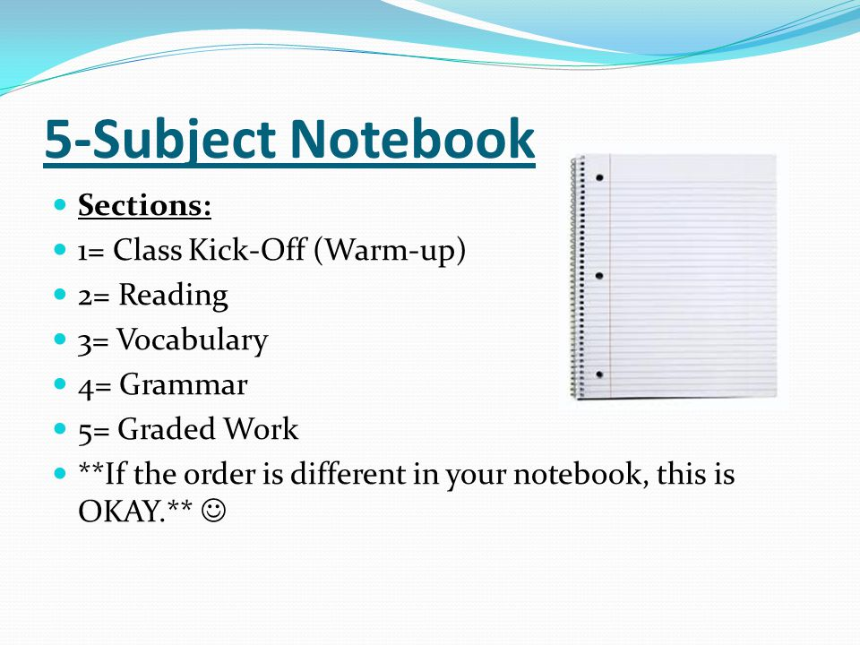 5-Subject Notebook Sections: 1= Class Kick-Off (Warm-up) 2= Reading
