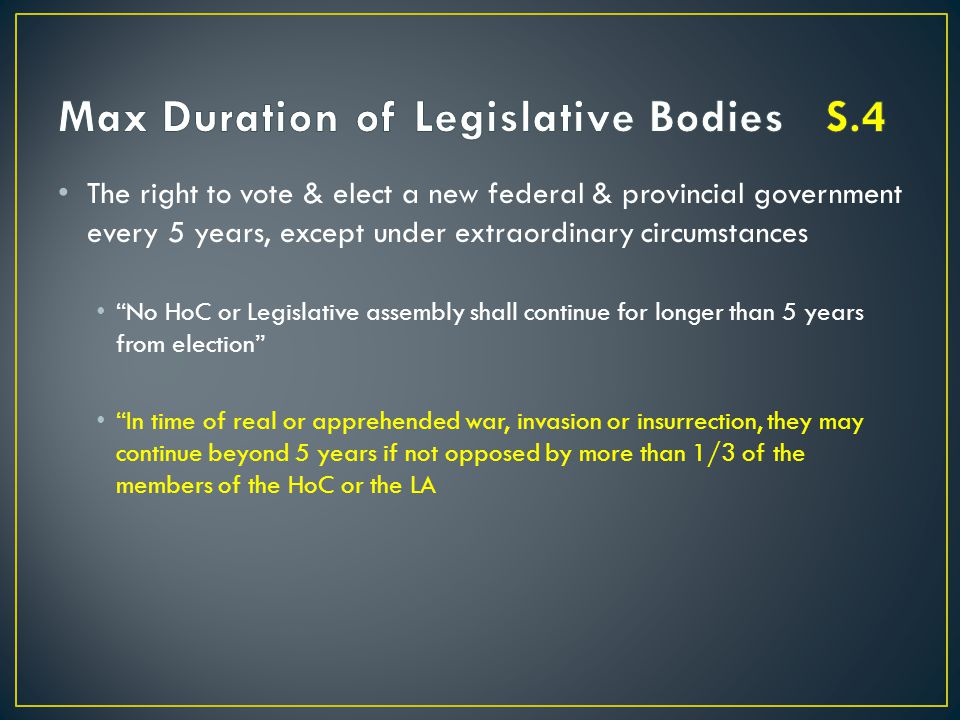 Max Duration of Legislative Bodies S.4