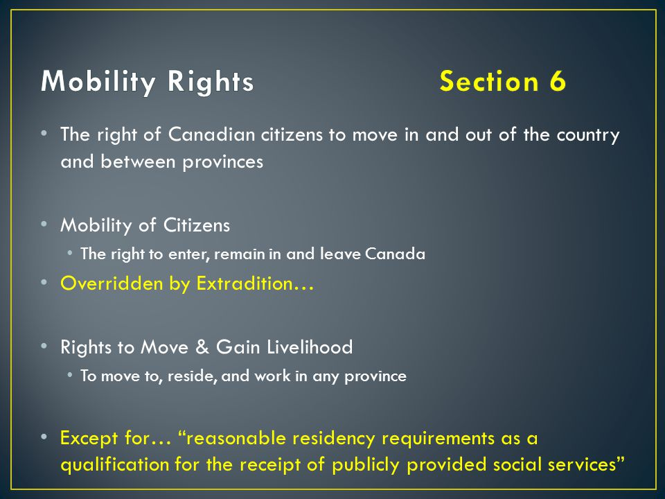 Mobility Rights Section 6
