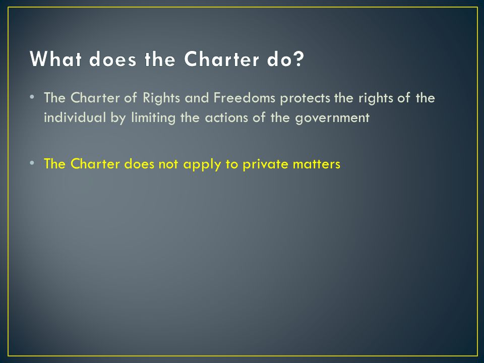 What does the Charter do