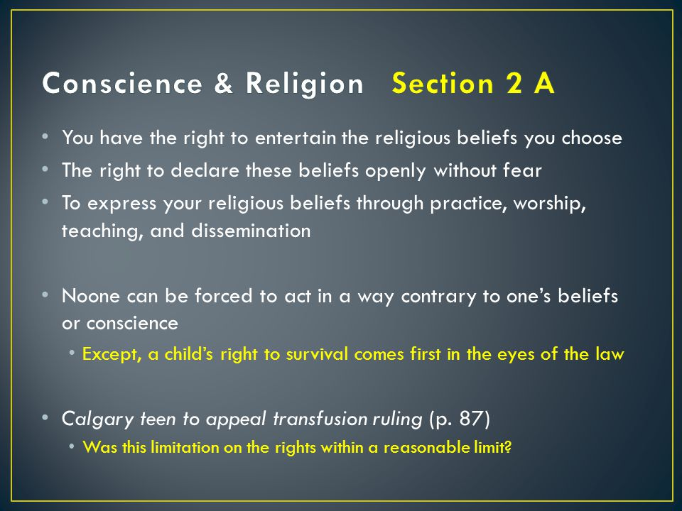 Conscience & Religion Section 2 A