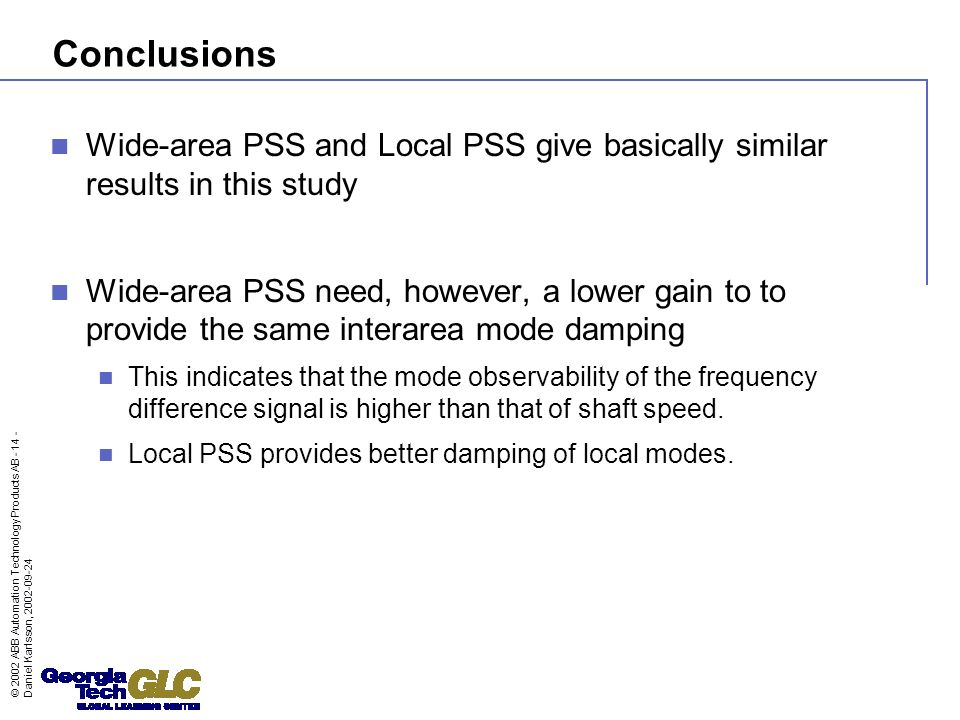 Conclusions Wide-area PSS and Local PSS give basically similar results in this study.