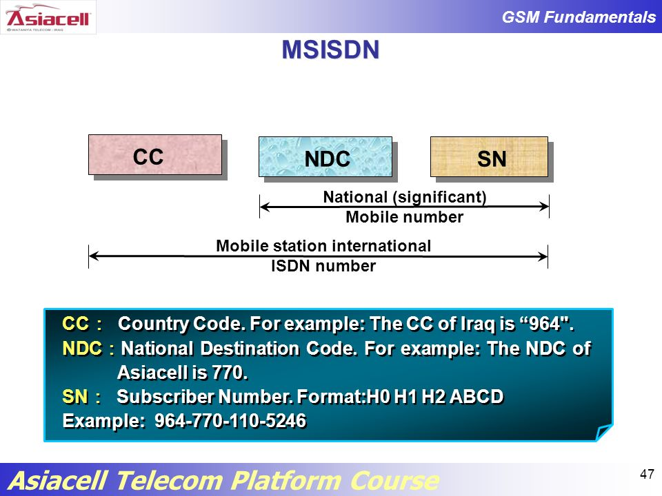 National (significant) Mobile station international