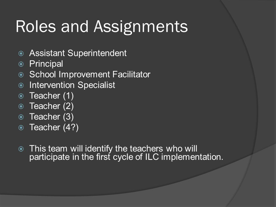Roles and Assignments Assistant Superintendent Principal