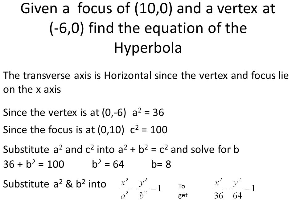 Given a focus of (10,0) and a vertex at (-6,0) find the equation of the Hyperbola