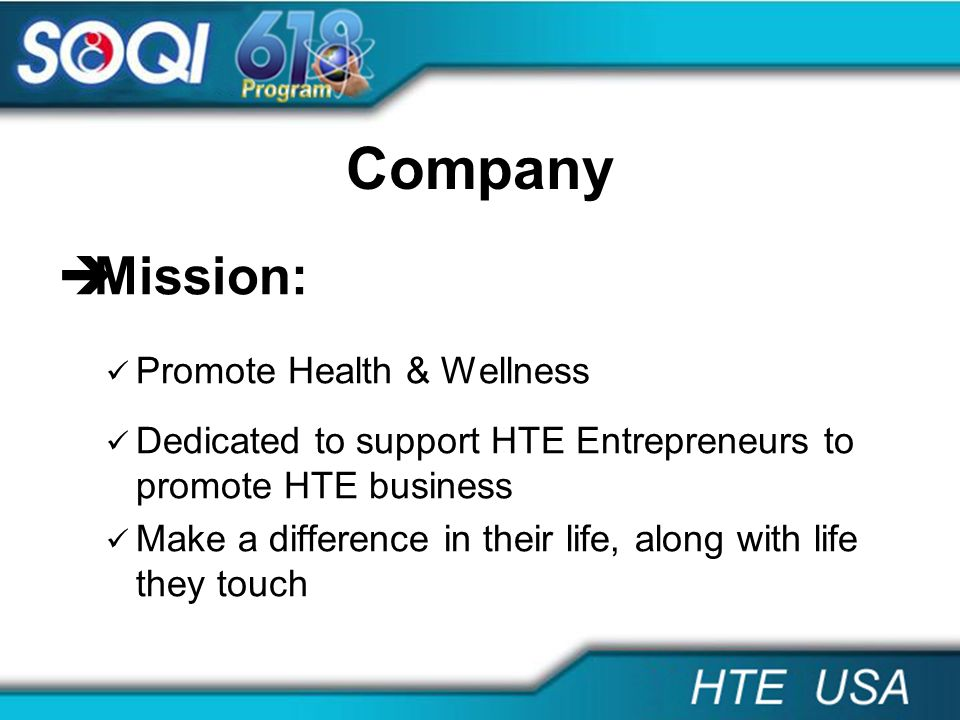Company Mission: Promote Health & Wellness