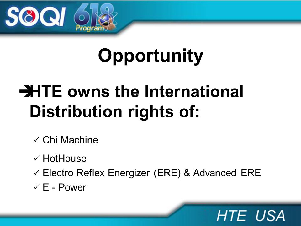 Opportunity HTE owns the International Distribution rights of: