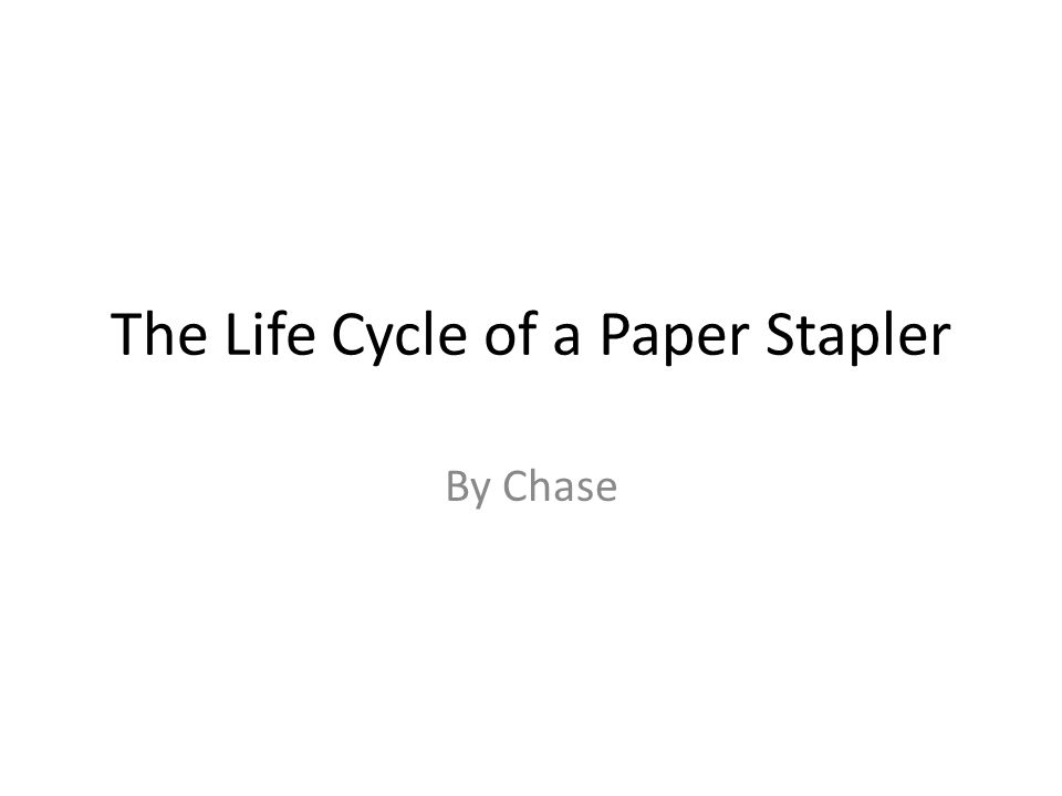 The Life Cycle of a Paper Stapler