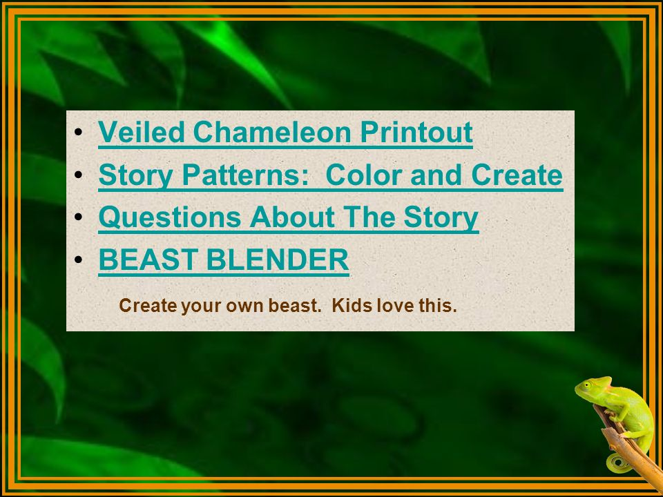 Veiled Chameleon Printout Story Patterns: Color and Create
