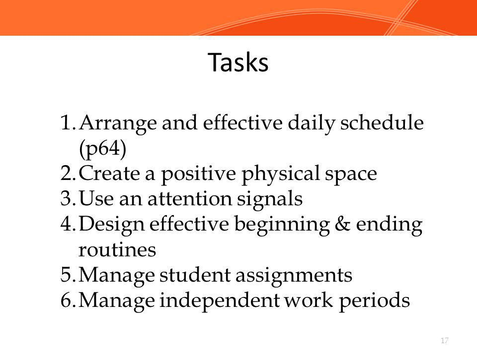 Tasks Arrange and effective daily schedule (p64)