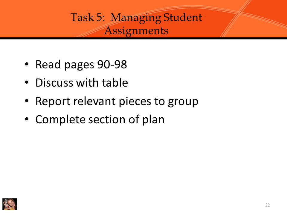 Chapter 2, Task 5: Manage Student Assignments p. 90-98