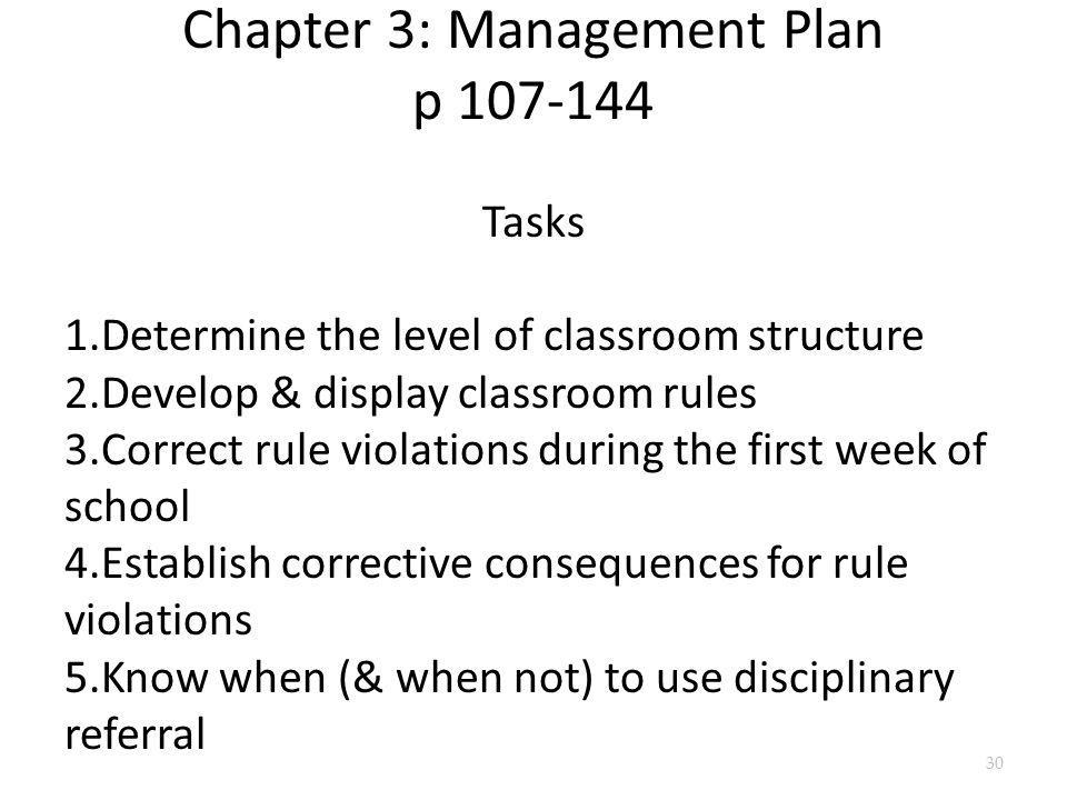 Chapter 3: Management Plan p 107-144