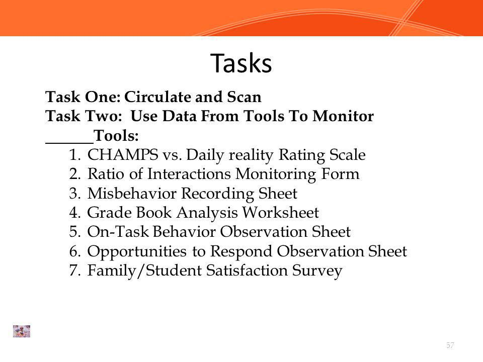 Tasks Task One: Circulate and Scan