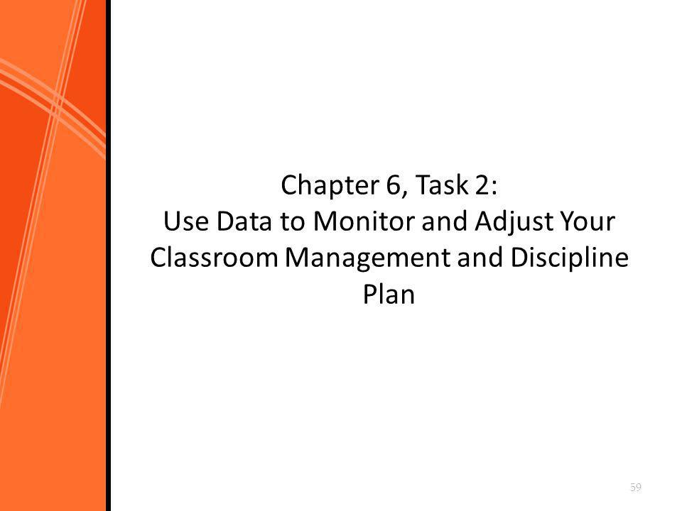 Chapter 6, Task 2: Use Data to Monitor and Adjust Your Classroom Management and Discipline Plan