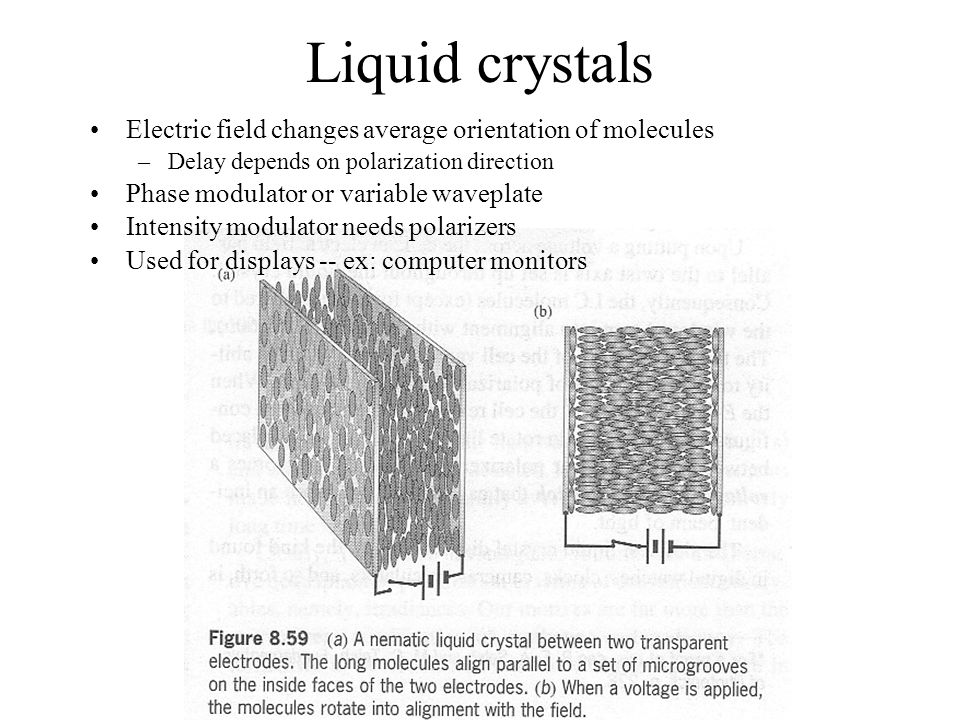 Liquid crystals Electric field changes average orientation of molecules. Delay depends on polarization direction.