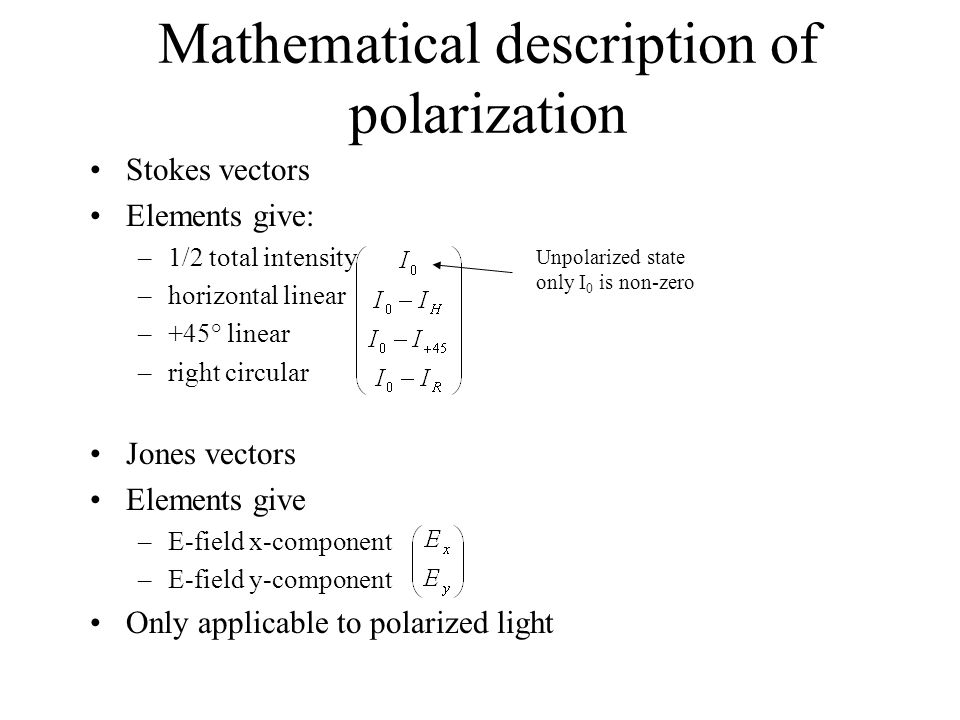 Mathematical description of polarization