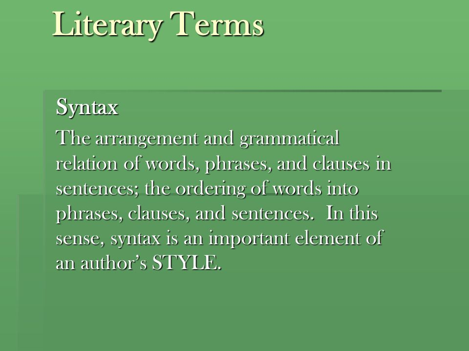 Literary Terms Syntax.